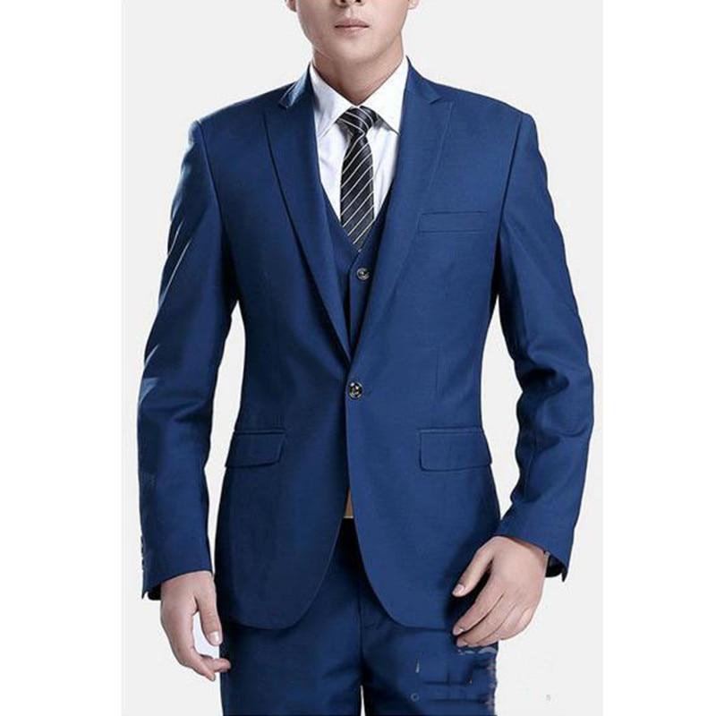 164 (1) New Men Wedding Party Suit Groom bule Tuxedos For Men ,Wedding Suits For Men Groomsmen Costume Homme (Jacket+Pants+Vest)