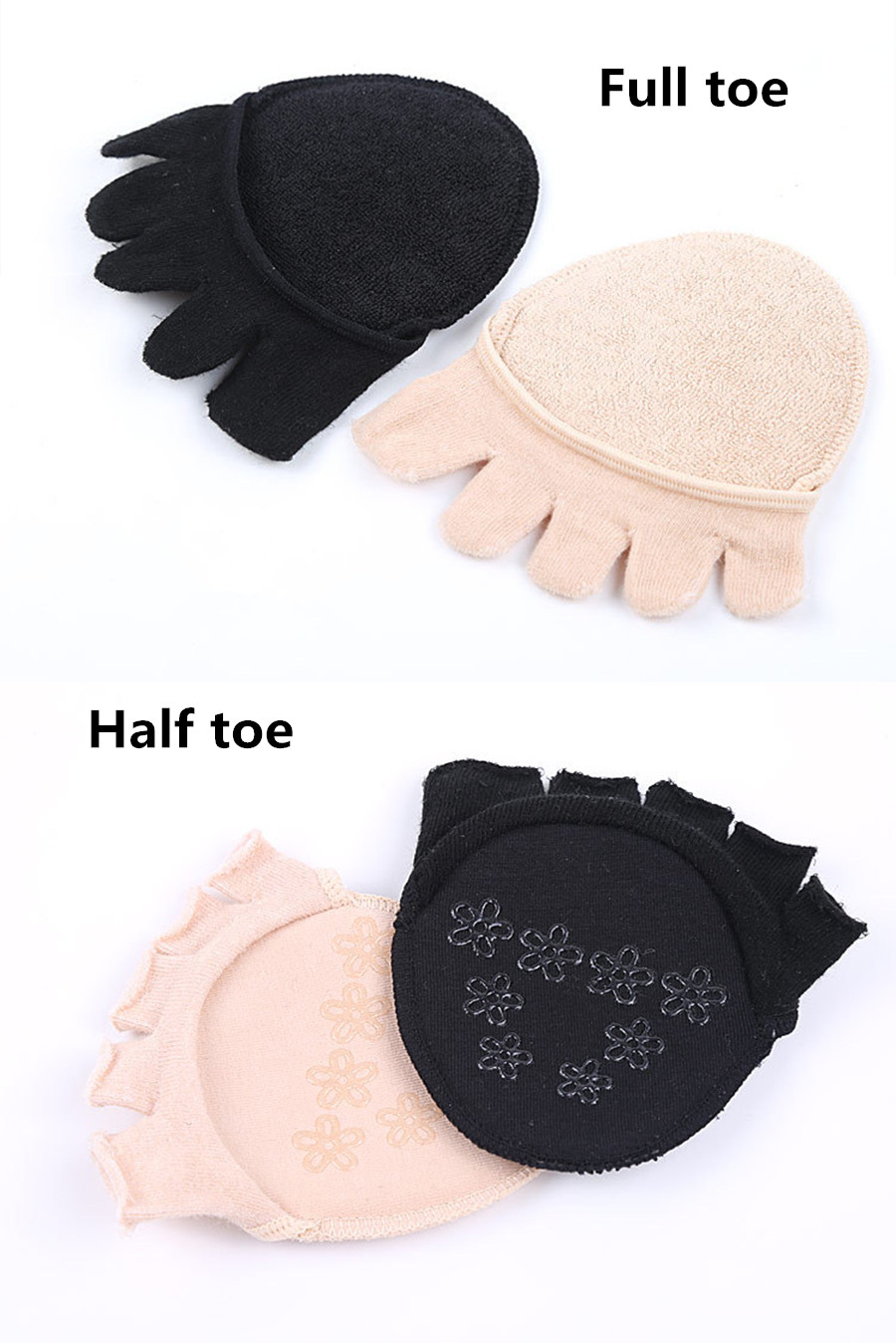 US $3.06 10% OFF|Nylon High Heel Shoes Anti Skid Forefoot Socks Silicone Forefoot Insoles Separate Toes Care Foot Half Shoes Pad Dropshipping in