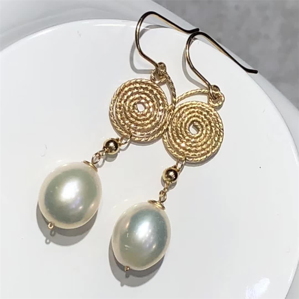 fine jewelry factory wholesale SGARIT brand fashion 14k gold wrap natural yellow Pearl gemstone tassel earring hand made jewelry 1