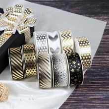 7/8 22mm Gold Foil Mini Star Patterns Grosgrain Ribbon Waves&Stripes Gift Bowknot Packing DIY 10yards/roll