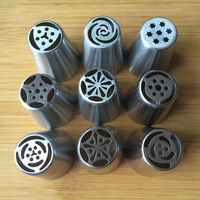 9PCS/set Big Size Russian Tulip Stainless Steel Icing Piping Nozzles Tip Russia Nozzl Stainless Pastry tools Dessert Decorators