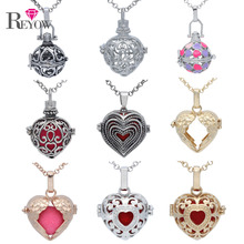1pc Heart Shaped Pendant Cage Locket Necklace Fragrance Perfume Essential Oil Diffuser Women Aromatherapy Jewelry Charms