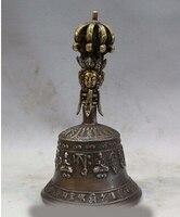 Viejo palacio bronce buda Dorje Vajra campana y la caja del sostenedor campana copper decoration bronze factory Pure Brass