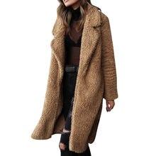 27ba34056d 2018 Kobiety Faux Teddy Płaszcz Zimowy Grube Ciepłe Puszyste Długie Futro  Płaszcze Moda Lapel Shaggy Kurtki
