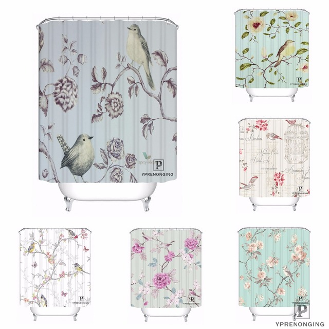 Custom SHABBY CHIC SONGBIRD Waterproof Shower Curtain Home Bath Bathroom S Hooks Polyester Fabric Multi Sizes180509 51
