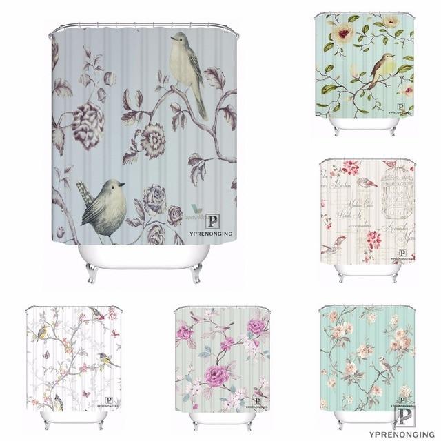 Custom SHABBY CHIC SONGBIRD Waterproof Shower Curtain Home Bath Bathroom S Hooks Polyester Fabric Multi Sizes180509