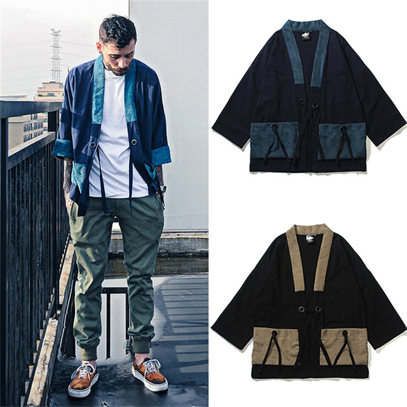 Loose Cotton And Linen Mens Kimono Japanese Clothes Streetwear