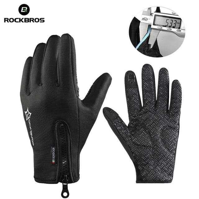 ROCKBROS Нескользящие сноубордические лыжные перчатки термальные водостойкие сенсорные перчатки для катания на лыжах Зимние велосипедные перчатки мужские