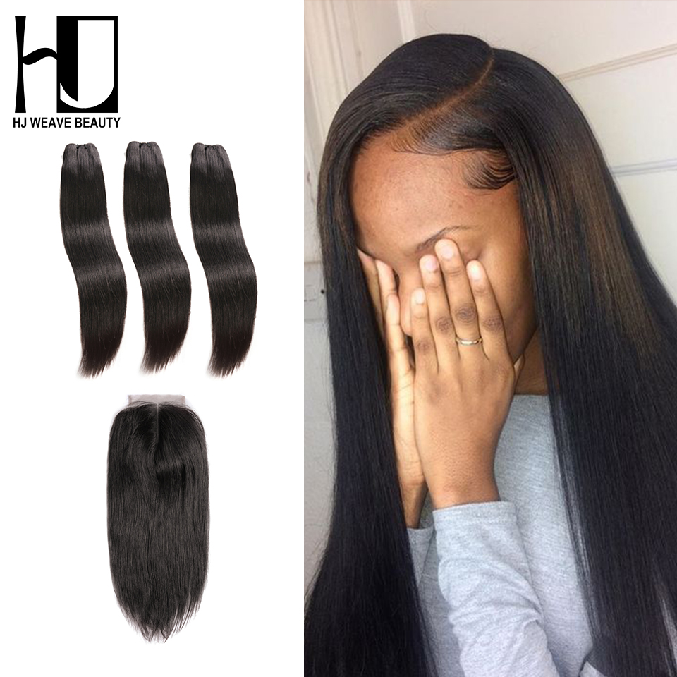 HJ WEAVE BEAUTY Raw Indian Virgin Hair Bundles With Closure Straight Hair Weave Bundles With Middle