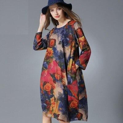 d92862bcde194 2016 جديد ربيع الخريف النساء الأزهار المطبوعة محبوك فستان طويل الأكمام  الإناث السيدات زائد حجم عارضة vestidos XXXXL 8968