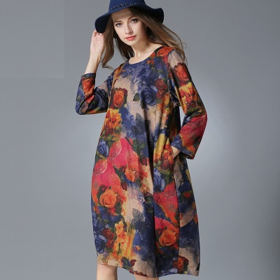 2016 New spring autumn women floral printed knitted long dress sleeve female ladies plus size casual vestidos XXXXL 8968 2016 new spring autumn women floral printed knitted long dress sleeve female ladies plus size casual vestidos xxxxl 8968