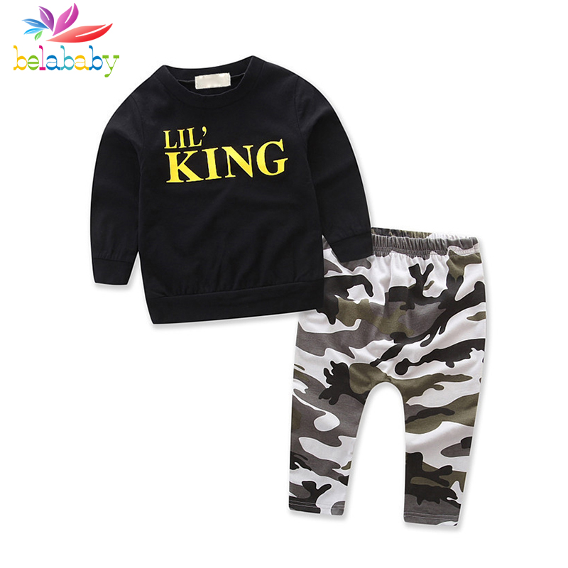 Belababy Kids Clothes Boys Sets Children Clothing 2 Pcs Autumn Boy Black Long-Sleeved Sweater Camouflage Pants Two-piece