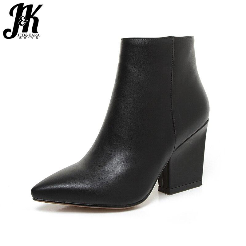 JK Reife Spitz Stiefeletten 2018 Neue Ankunft Herbst Winter Stiefel frauen High Heel Cuban Schuh Pelz Seite zip Weibliche Schuhe