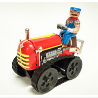BEIOUFENG Vintage Tractor Wind Up Tin Toy with Clockwork,Handmade Brinquedo Clockwork Toys Classic Toys for Adults Collection