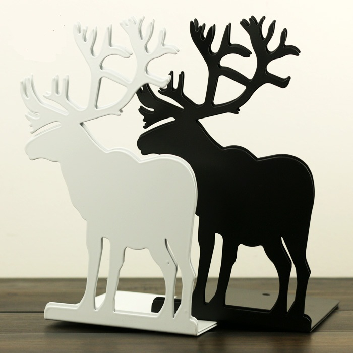 2pcs/Pair Korean Deer Metal Bookends White Black Blue Red Elk Decorative Book Support Holder Desk Stands For Books цена