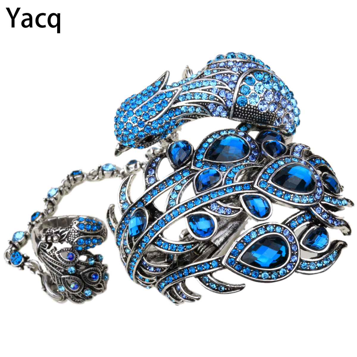 YACQ Peacock Bangle Bracelet Slave Hand Chain Attached Ring Sets Women Jewelry Gifts A23 Silver Gold Color Dropshipping
