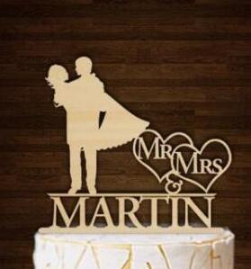 Personalisierte Namen Mr Und Frau Silhouette Holz Hochzeitstorte