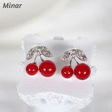цена на Cute Earrings Sweet Fruit Cherry Stud Earrings For Girls Women Red White Simulated Pearl Small Earrings Summer Jewelry Wholesale