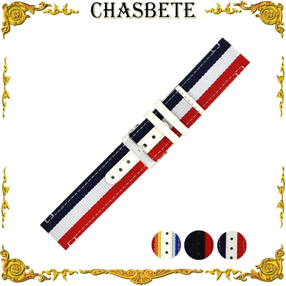 22mm 24mm Nylon Canvas Watch Band for Patek Philippe Blancpain Men Women Nato Fabric Strap Wrist Loop Belt Bracelet Black White