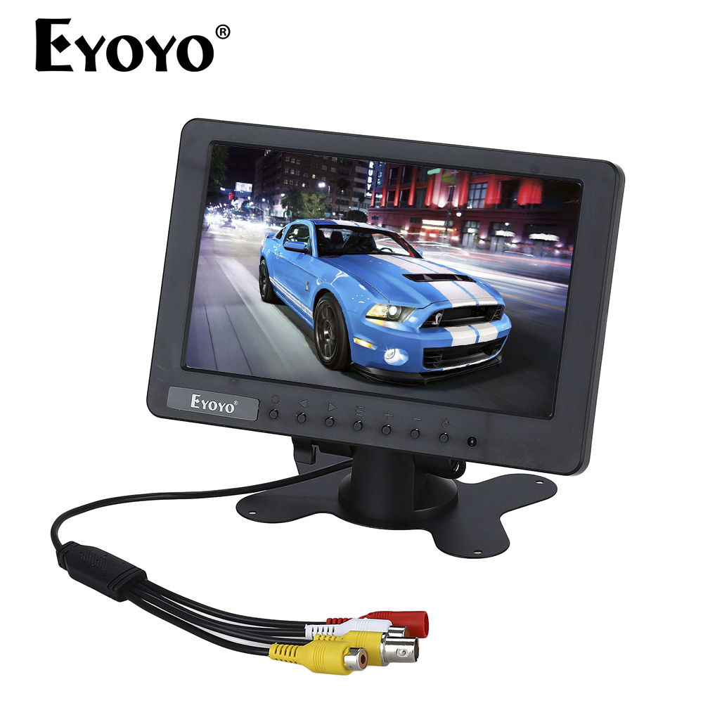 Eyoyo S701 7 inch LCD TFT Color Monitor Display Video Audio BNC AV CVBS Input DC 12V For Car LCD TV DVR Built-in Speaker