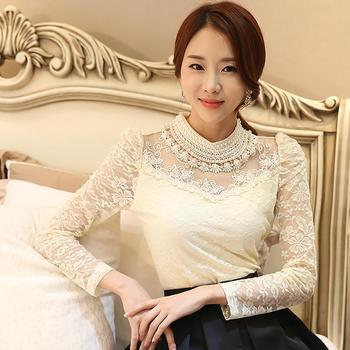 Dingaozlz elegant long sleeve bodysuit beaded Women lace blouse shirts crochet tops blusas Mesh Chiffon blouse female clothing 10