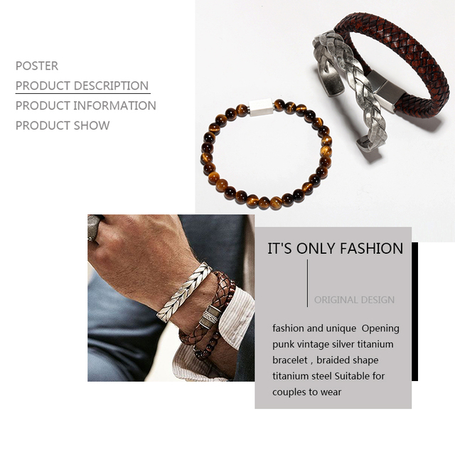 Braided Leather + Titanium Chain Cuff set or separetly 3