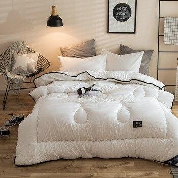 겨울 흰색 이불 따뜻한 침대 퀼트 씻어 면화 목가적 인 스타일 홈 이불 200*230 cm 두꺼운 커버 킹 사이즈 던져 퀼트