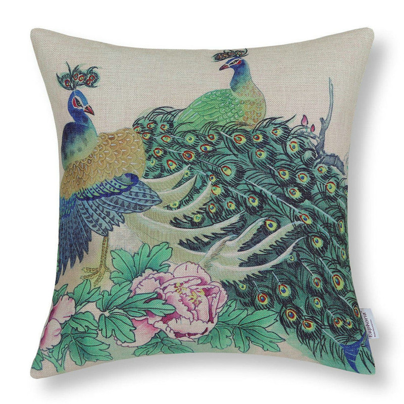 1PC colorful peacock pillowcase cover retro colorful birds throw cushion case pillow cover square shape drop shipping on sale