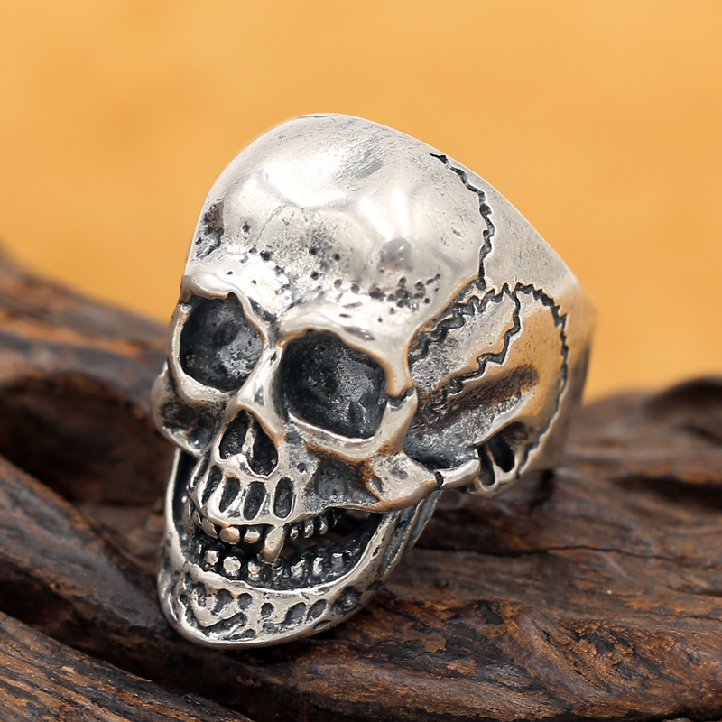 Handmade 925 silver Skull ring vintage style sterling silver Skeleton Ring Adjustable man ring male jewelry