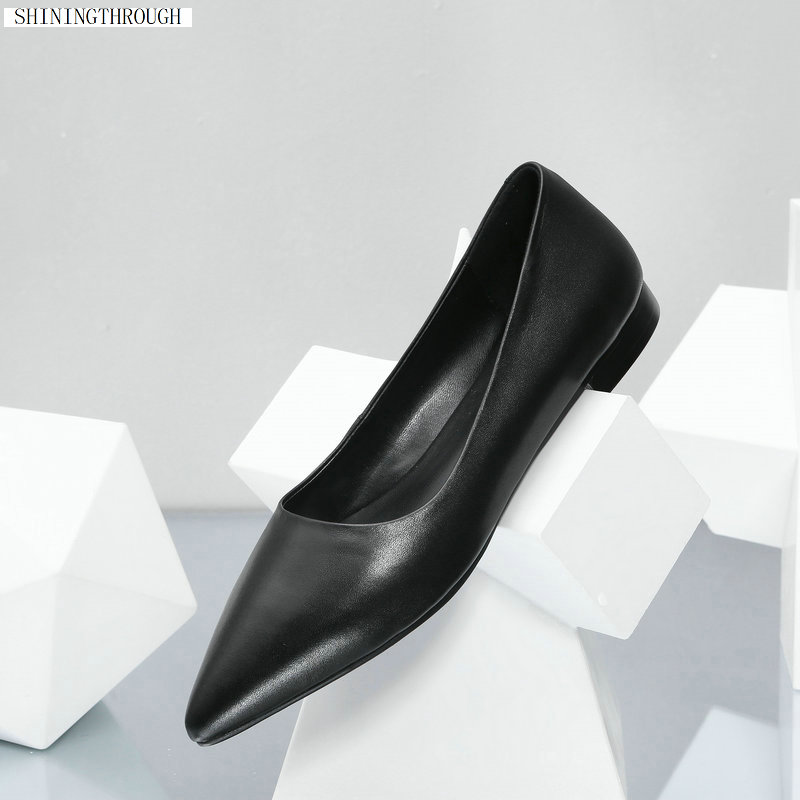2019 New 100 cow leather flat shoes woman summer office ladies work shoes black women causual