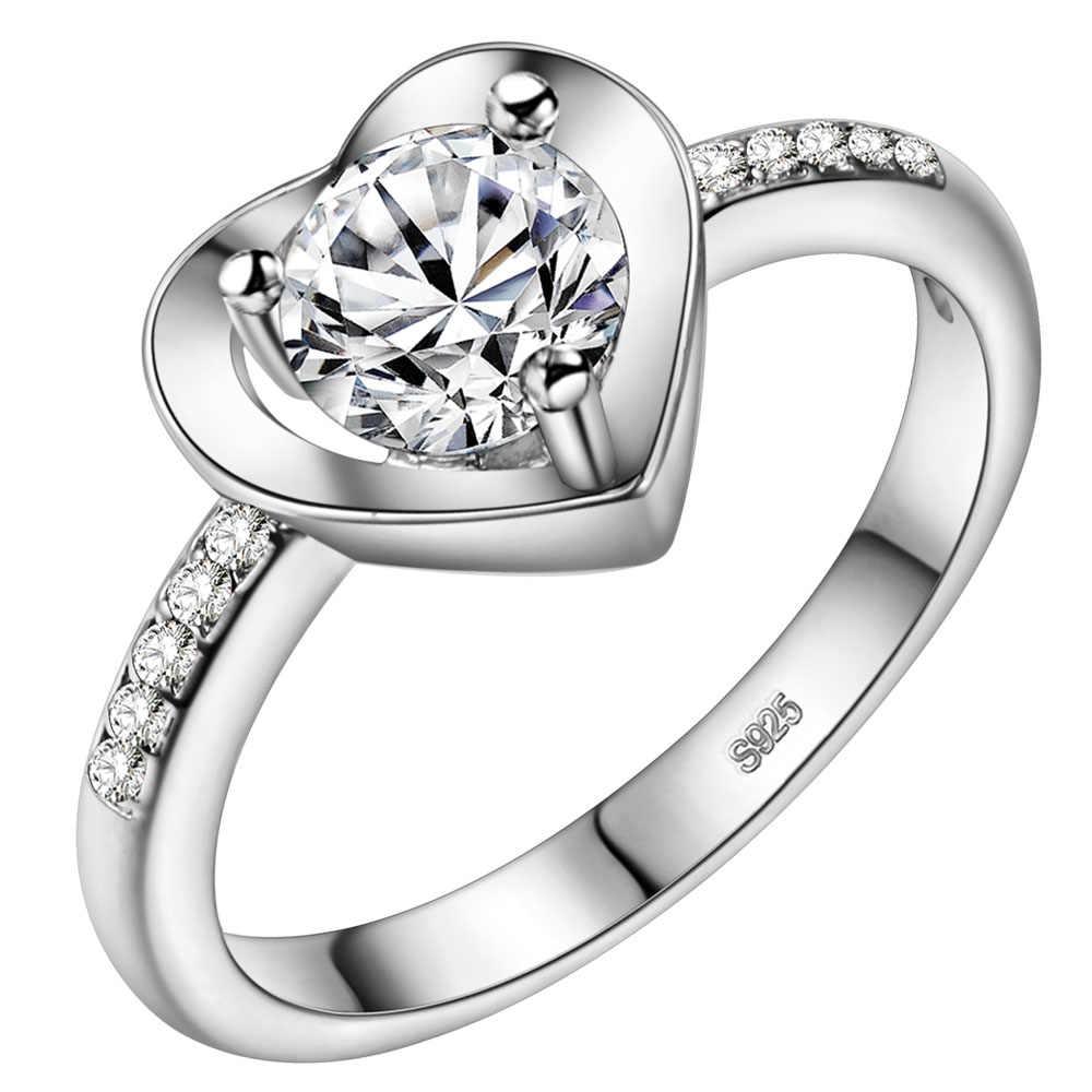 טבעת זירקון טבעת זוג תכשיטי אופנה בציפוי זהב 925 Vashiria J673 טבעת כתר קיסרי & מאהב צלב לב רומנטי