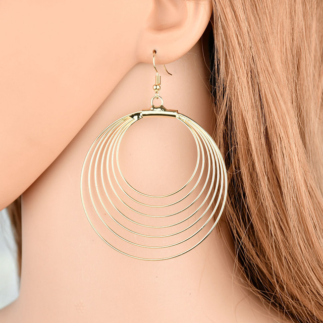 2018 New Seven layers design Bohemian Multilayer Round Earrings Punk Style  Big Gold Drop Earring for Women Party Jewelry gift f531ed1210cd
