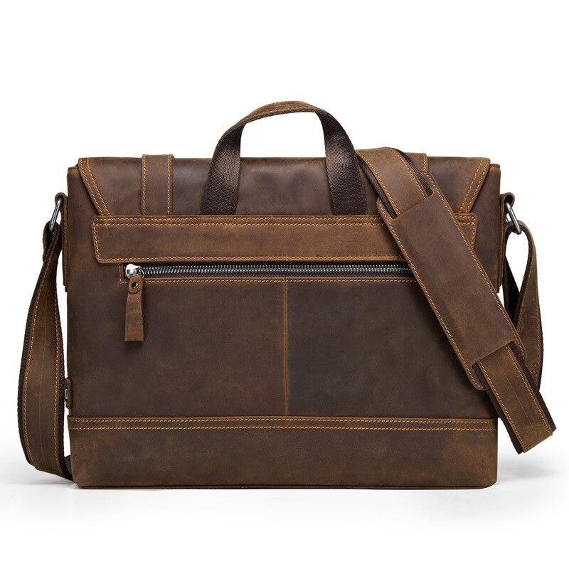 100% мужской портфель из натуральной кожи, Ретро стиль, настоящая сумасшедшая лошадь, кожаная сумка через плечо, деловая сумка для ноутбука, чехол, Офисная сумка - 2