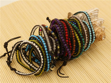 Color Natural Turquoise Beads On Genuine Leather 2 Wrap Bracelet for Women Fine Jewerly Fashion Lots Wholesale