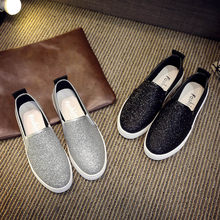Women s Spring Casual Flat Shoes Slip-On Sequins Loafer Shoes(China) 88001880226c