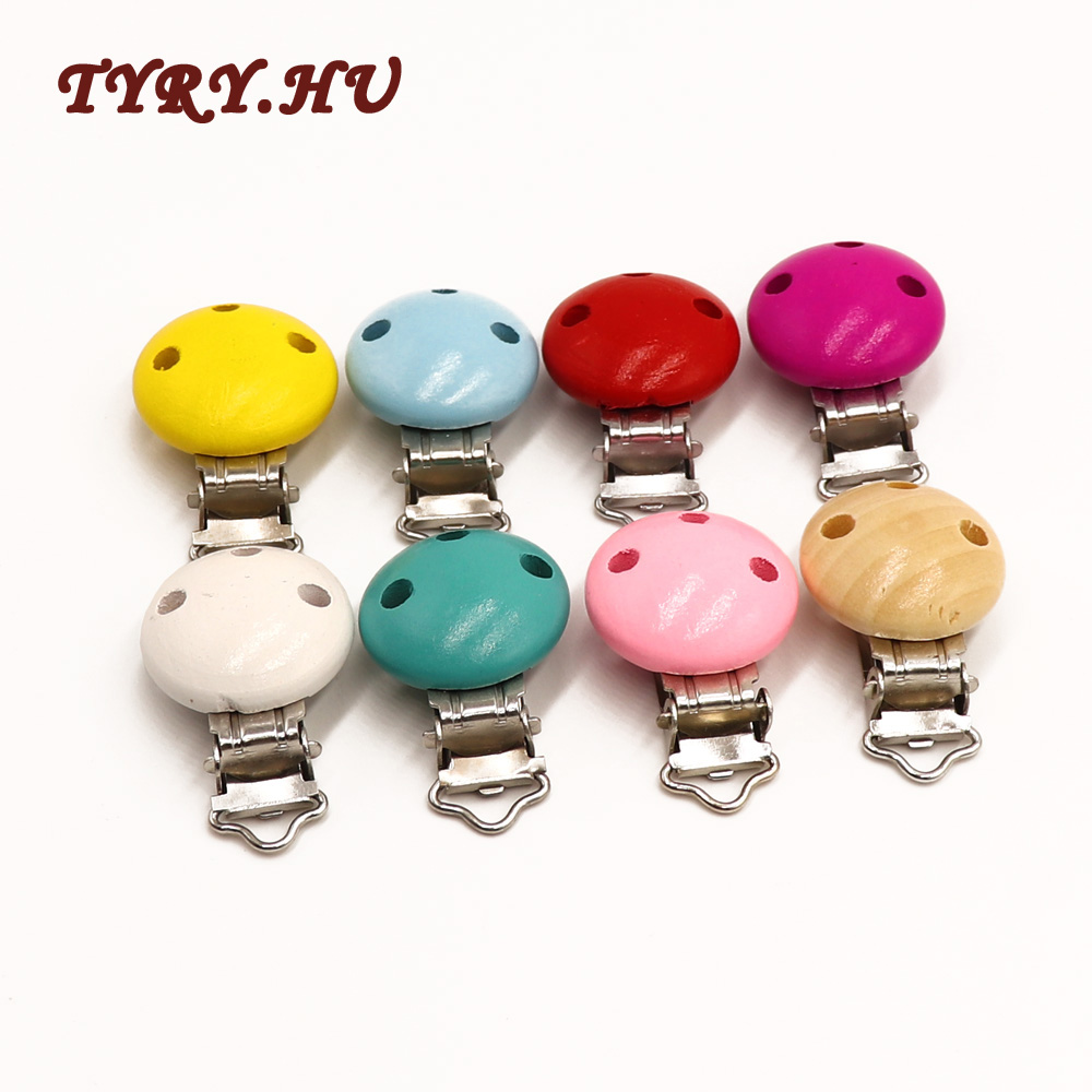 TYRY.HU 5pc Round Wooden Three Holes Clip For DIY Baby Molar Pacifier Chain Holder Clamp Teething Necklace Accessories Pendant