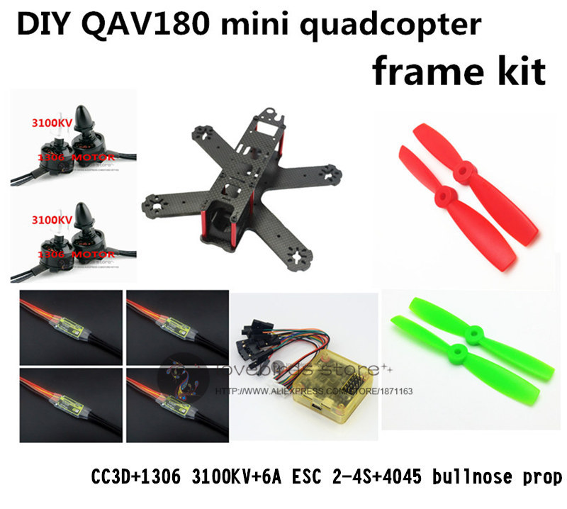 DIY FPV mini drone QAV180 / ZMR180 race quadcopter pure carbon frame kit CC3D +1306 motor + BL 6A ESC 2-4S + 4045 bullnose prop diy mini drone fpv race nighthawk 250 qav280 quadcopter pure carbon frame kit naze32 10dof emax mt2206ii kv1900 run with 4s
