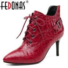 FEDONAS Marca Mulheres Ankle Boots de Couro Genuíno De Salto Alto Fivelas Club Party Bombas Zipper Outono Inverno Calçados femininos Mulher