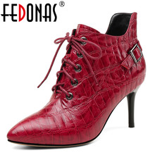 FEDONAS Marka Kadın yarım çizmeler Hakiki Deri Yüksek Topuklu Tokaları Parti Kulübü Pompaları Fermuar Sonbahar Kış Bayan Ayakkabıları Kadın