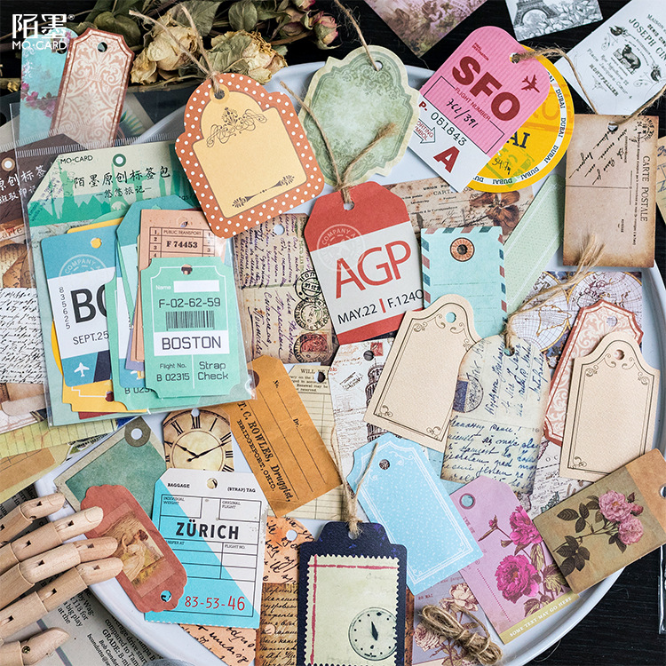 30pc/pack Travel diary series Retro rope label vintage paper tags Stickers Scrapbooking Label DIY Diary Stickers Escolar 8styles 18mm round lead free packing rohs label stickers 15 x 50 pack