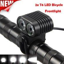 ФОТО new bicycle light 8000 lumens 2x t6 led cycling bike front light headlight headlamp beam 200m aluminium alloytorch m20