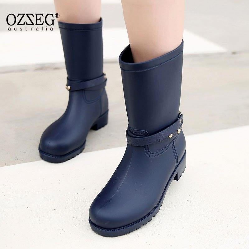 Charming Women Rainboots 2018 Plain Flat Mid- Calf Boot Waterproof Rubber Rain Boots Lace-up Shoes Woman Size Plus 35-41
