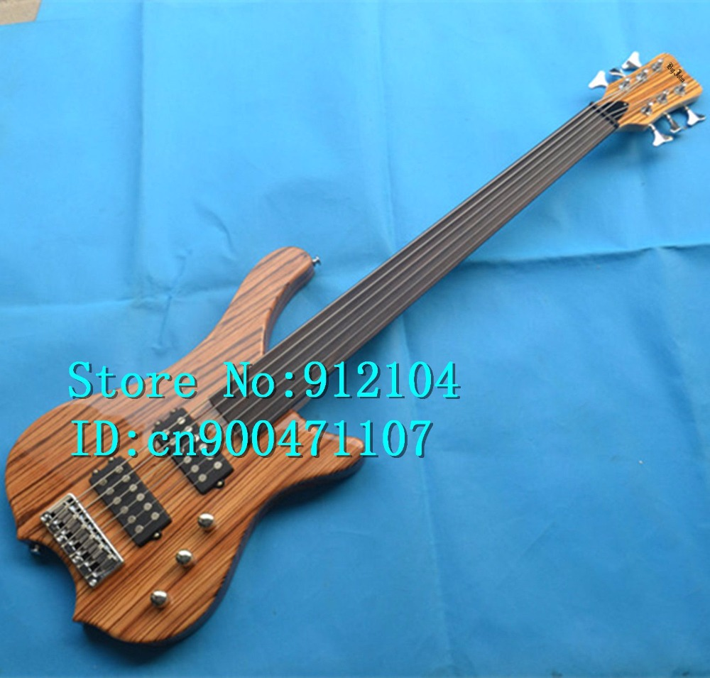 new Big John 6 strings electric bass guitar in natural with zebra wood body and passive  pickup +EMS free shipping F-3064-3065 free shipping new electric guitar and bass 2 a250k 2 b250k big tone and volume electronic dr 8159