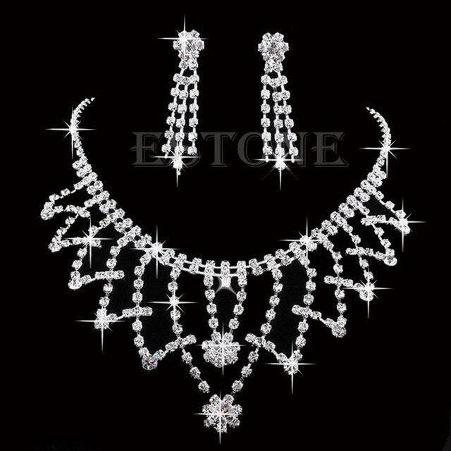 Kristall Strass Halskette Ohrring Prom Schmuck-Sets Hochzeit Braut Brautjungfer