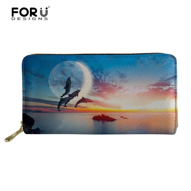 4516d62d8 FORUDESIGNS mujeres carteras de cuero la Pu titulares tarjeta 3D dormir  delfín impreso cartera monedero largo moneda cremallera personalizado