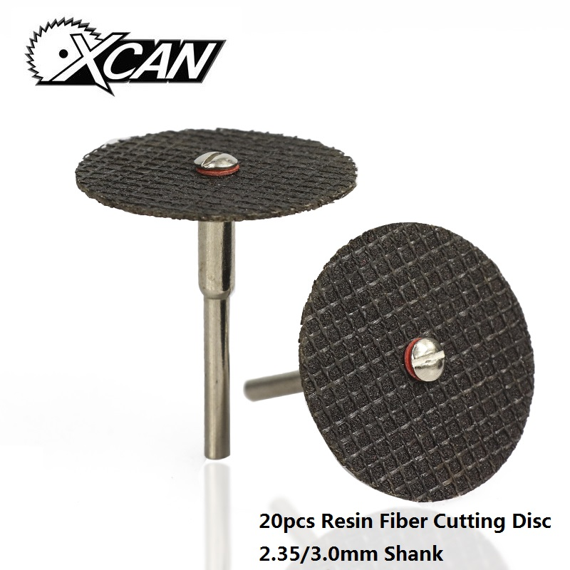 XCAN 20pcs 2.35mm/3.0mm Shank Resin Fiber Cutting Disc Metal Cutting Mini Saw BladeRotary Tools Accessories Kit Cutter-off Wheel