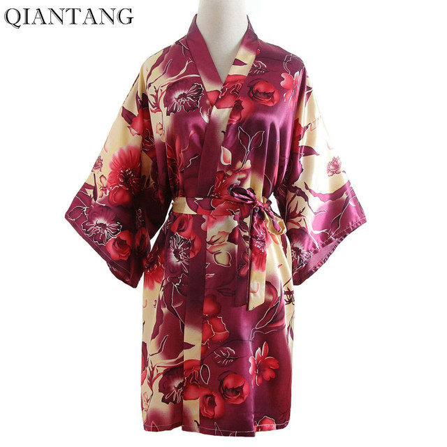 Burgundy Women's Summer Mini Kimono Robe Ladies Bath Gown Yukata Nightshirt Bride Bridesmaid Wedding Dress Nightdress Pajamas