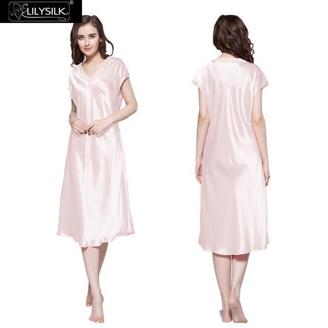 Lilysilk Pure Silk Long Nightgowns Women 22 Momme Sensitive Skin Care Night Dress Mujer Sleepwear Pure Light Pink Sexy Lounge