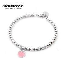 2019 stainless steel beads women bracelet gifts Girl womens jewelry accessories chain heart Pink original personalized bracelets jewelry bracelet exclaim for womens 033s2387b jewellery womens bracelets accessories bijouterie