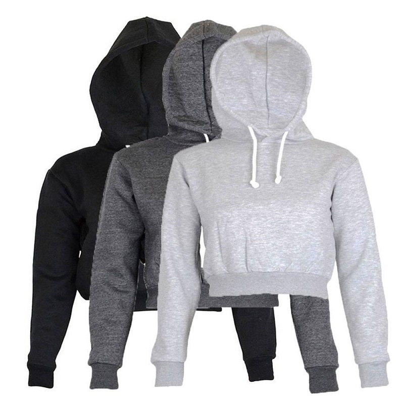 2019 Autumn Women Hoodies Solid Crop Hoodie Long Sleeve Jumper Hooded Pullover Coat Casual Sweatshirt Top Sudaderas Mujer